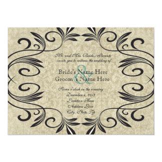 Vintage Sepia and Stylish Black Wedding Invitation
