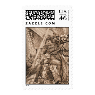 Vintage Sepia Angel Fairy Postage Stamps