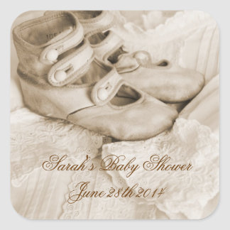 Vintage Sepia Baby Shoes Stickers