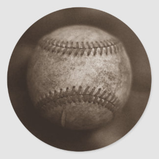 Vintage Sepia Baseball Classic Round Sticker