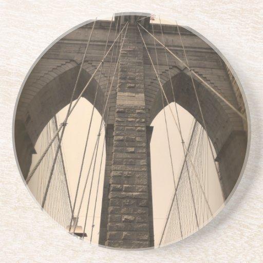 Vintage Sepia Brooklyn Bridge Beverage Coaster