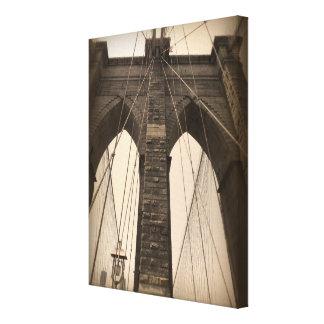Vintage Sepia Brooklyn Bridge Stretched Canvas Print