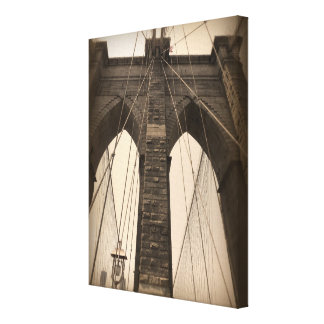 Vintage Sepia Brooklyn Bridge Canvas Print