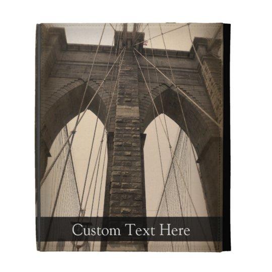Vintage Sepia Brooklyn Bridge iPad Folio Cases