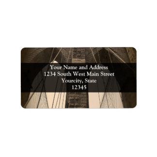 Vintage Sepia Brooklyn Bridge Address Label