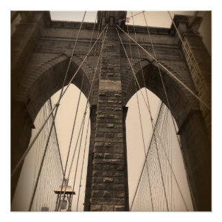 Vintage Sepia Brooklyn Bridge New York Poster