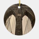 Vintage Sepia Brooklyn Bridge Double-Sided Ceramic Round Christmas Ornament
