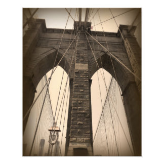 Vintage Sepia Brooklyn Bridge Photo Print