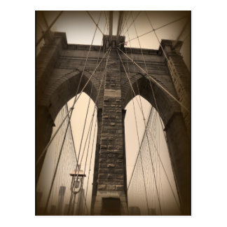Vintage Sepia Brooklyn Bridge Postcard