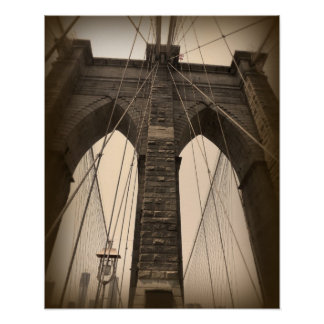 Vintage Sepia Brooklyn Bridge Poster