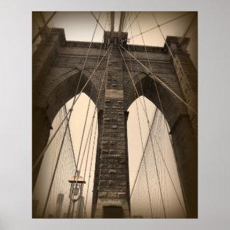Vintage Sepia Brooklyn Bridge Print