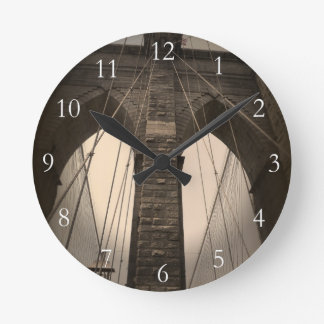 Vintage Sepia Brooklyn Bridge Round Clock