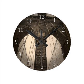 Vintage Sepia Brooklyn Bridge Round Clock