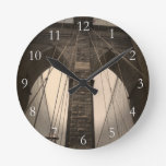 Vintage Sepia Brooklyn Bridge Round Wallclock
