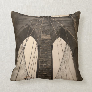 Vintage Sepia Brooklyn Bridge Throw Pillow