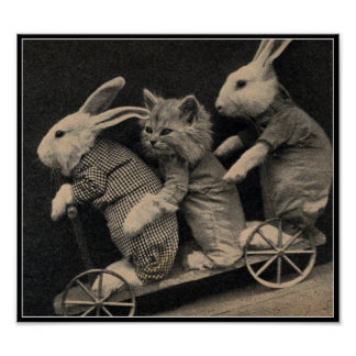 Vintage Sepia Bunnies & Kitten Easter Art Print
