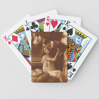 Vintage Sepia Couples Embrace Lovers Poker Cards