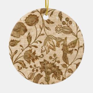 Vintage Sepia Floral Pattern Design Ceramic Ornament