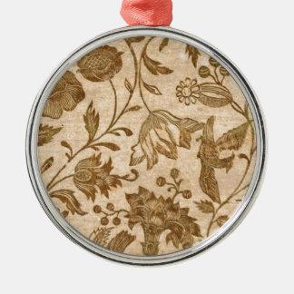 Vintage Sepia Floral Pattern Design Metal Ornament