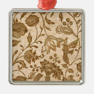 Vintage Sepia Floral Pattern Design Metal Ornament