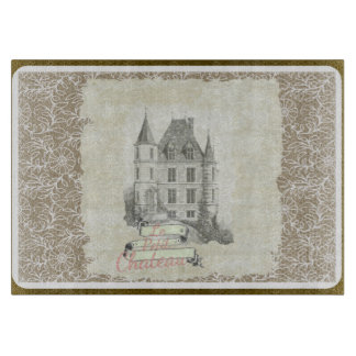 Vintage Sepia French Chateau Collage Cutting Board