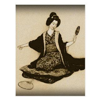 Vintage Sepia Japanese geisha looking with mirror Postcard