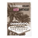Vintage Sepia Las Vegas Birthday Party Invitation Custom Announcement