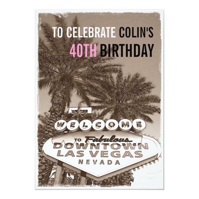 Vintage Sepia Las Vegas Birthday Party Invitation