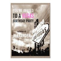 Vintage Sepia Las Vegas Modern Birthday Party Card