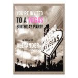 Vintage Sepia Las Vegas Modern Birthday Party Invitation