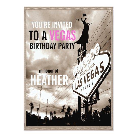 Vintage Sepia Las Vegas Modern Her Birthday Party Card