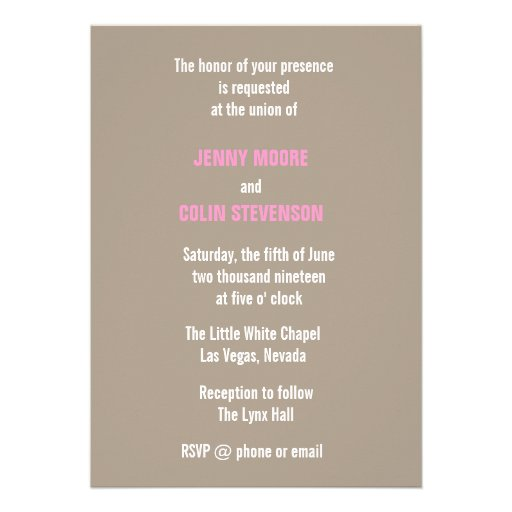 Vintage Sepia Las Vegas Modern Wedding Invites (back side)