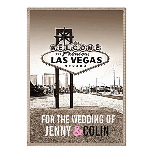 Vintage Sepia Las Vegas Modern Wedding Invites
