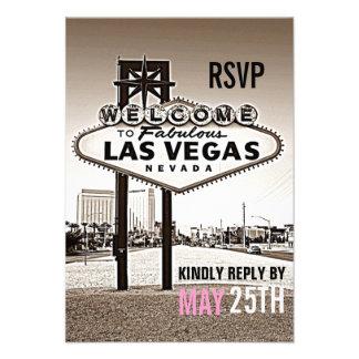 Vintage Sepia Las Vegas Modern Wedding RSVP Announcements