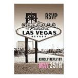Vintage Sepia Las Vegas Modern Wedding RSVP 3.5x5 Paper Invitation Card