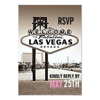 "Vintage Sepia Las Vegas Modern Wedding RSVP 3.5"" X 5"" Invitation Card"