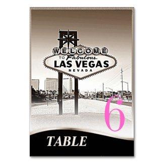 Vintage Sepia Las Vegas Wedding Menu+Table
