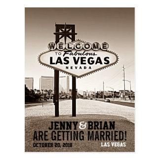 Vintage Sepia Las Vegas Wedding Save The Date Postcard