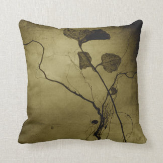 Vintage Sepia Leaf Root Throw Pillow