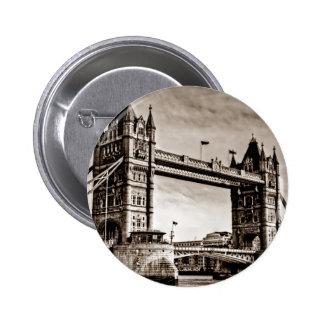 Vintage Sepia London Tower Bridge Pinback Button