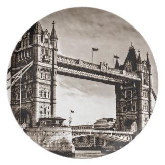 Vintage Sepia London Tower Bridge Plates