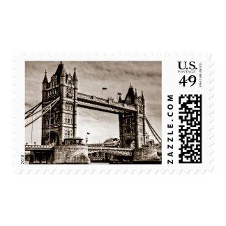 Vintage Sepia London Tower Bridge Stamps