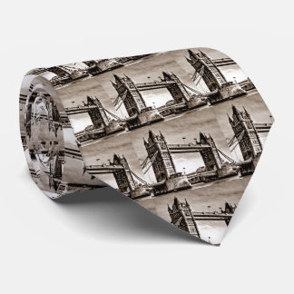 Vintage Sepia London Tower Bridge Tie