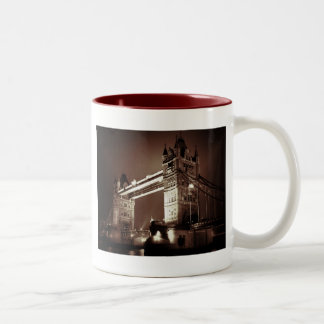 Vintage Sepia London Tower Bridge Two-Tone Coffee Mug