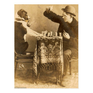 Vintage Sepia Man Playing Cards Dog Smoking Pipe