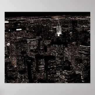Vintage Sepia Old Style New York City Skyline Poster