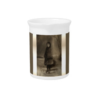Vintage Sepia Photo Girl With Sled in Winter Beverage Pitcher