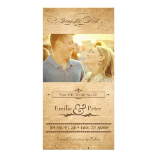 Vintage Sepia Poster Style Save the Date Photo Card