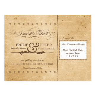 Vintage Sepia Poster Style Wedding Save the Date Postcard
