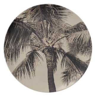 Vintage Sepia Retro Hawaiian Palm Tree Template Melamine Plate